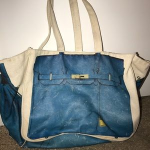 Canvas beach tote with picture of a Hermes Birkin